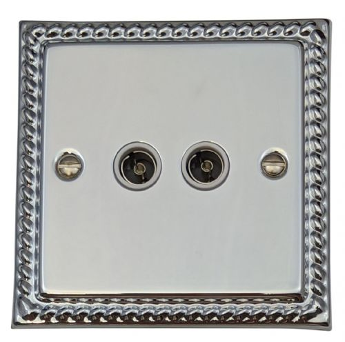 G&H MC36W Monarch Roped Polished Chrome 2 Gang TV Coax Socket Point